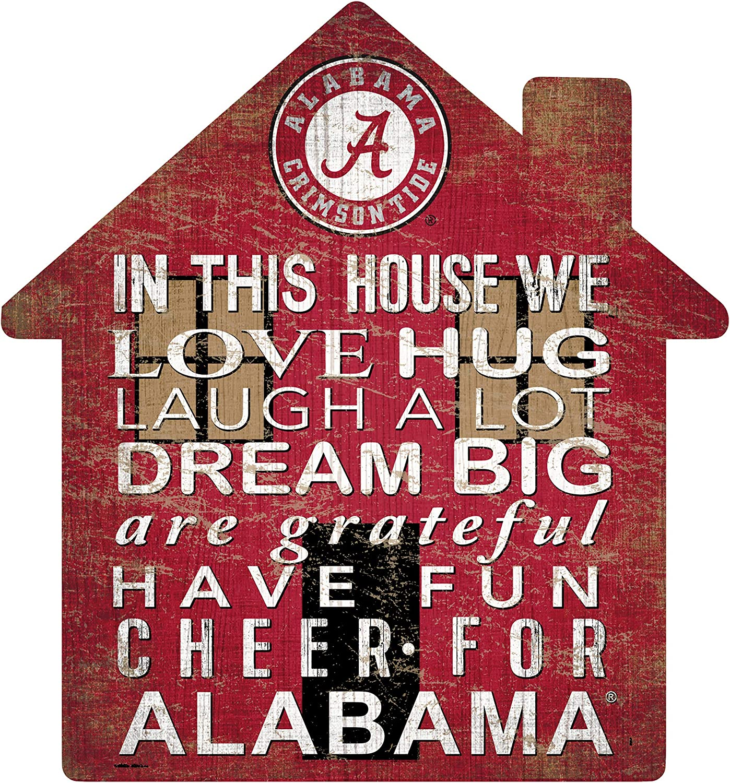 Fan Creations NCAA Alabama Crimson Tide Unisex University of Alabama House Sign, Team Color, 12 inch