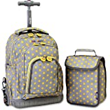 J World New York Lollipop Kids' Rolling Backpack with Lunch Bag, Candy Buttons, One Size