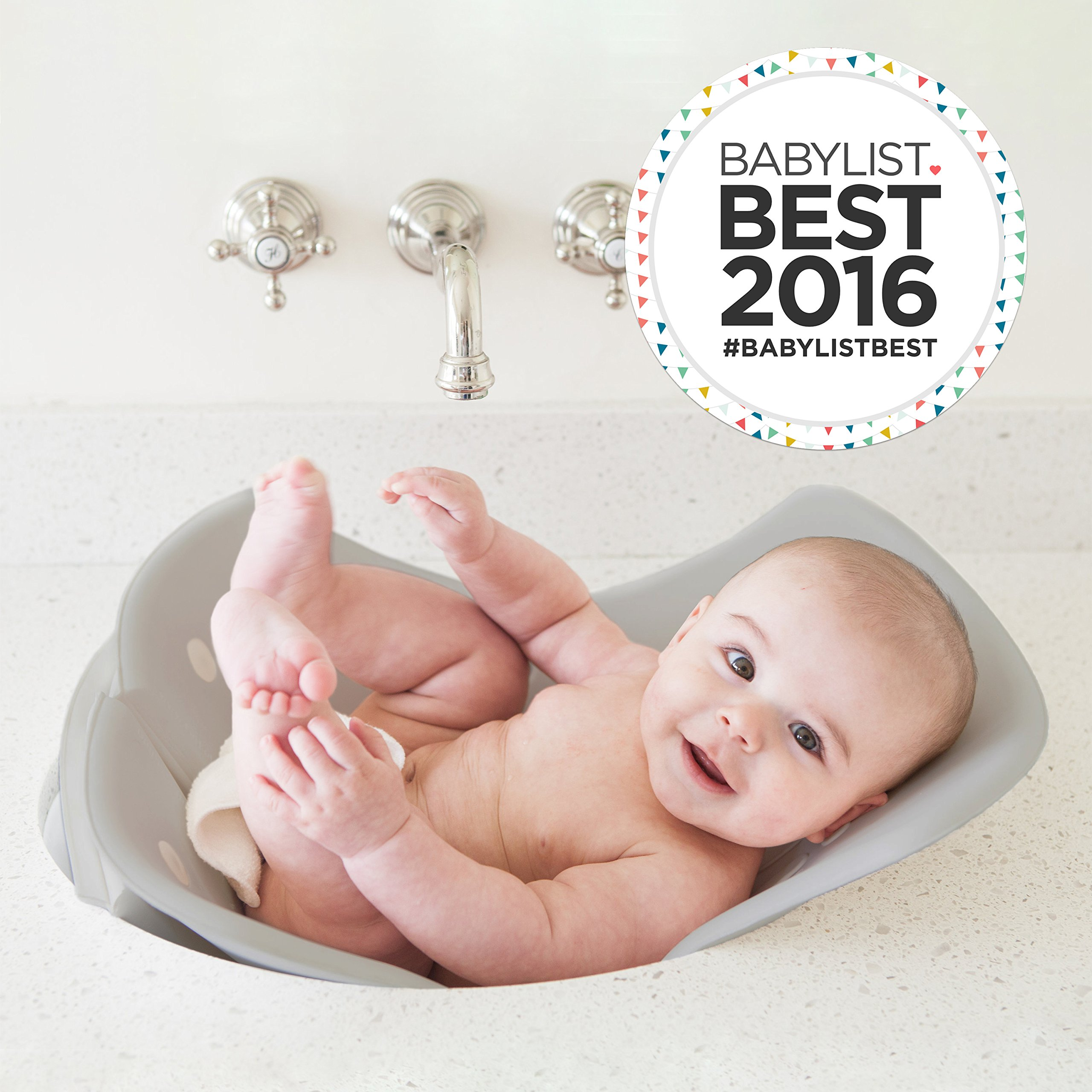 Puj Tub - The Soft, Foldable Baby Bathtub - Newborn, Infant, 0-6 Months, In-Sink Baby Bathtub, BPA free, PVC free (Grey) by Puj