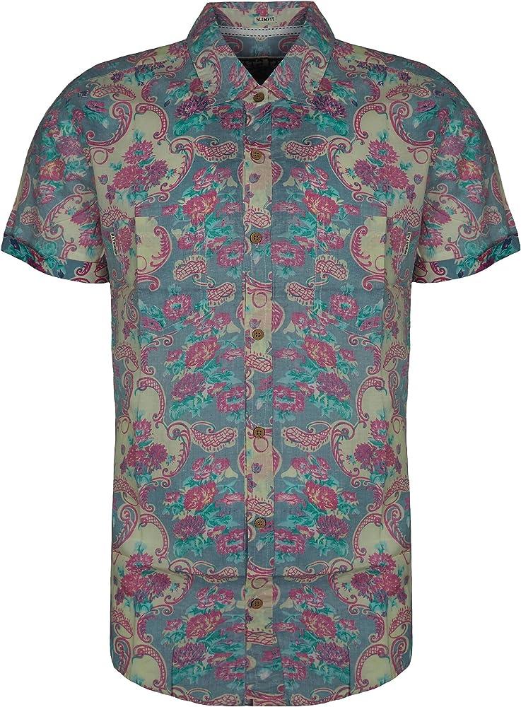 Soulstar - Camisa Casual - para Hombre Rosa Rosa Small: Amazon.es: Ropa y accesorios