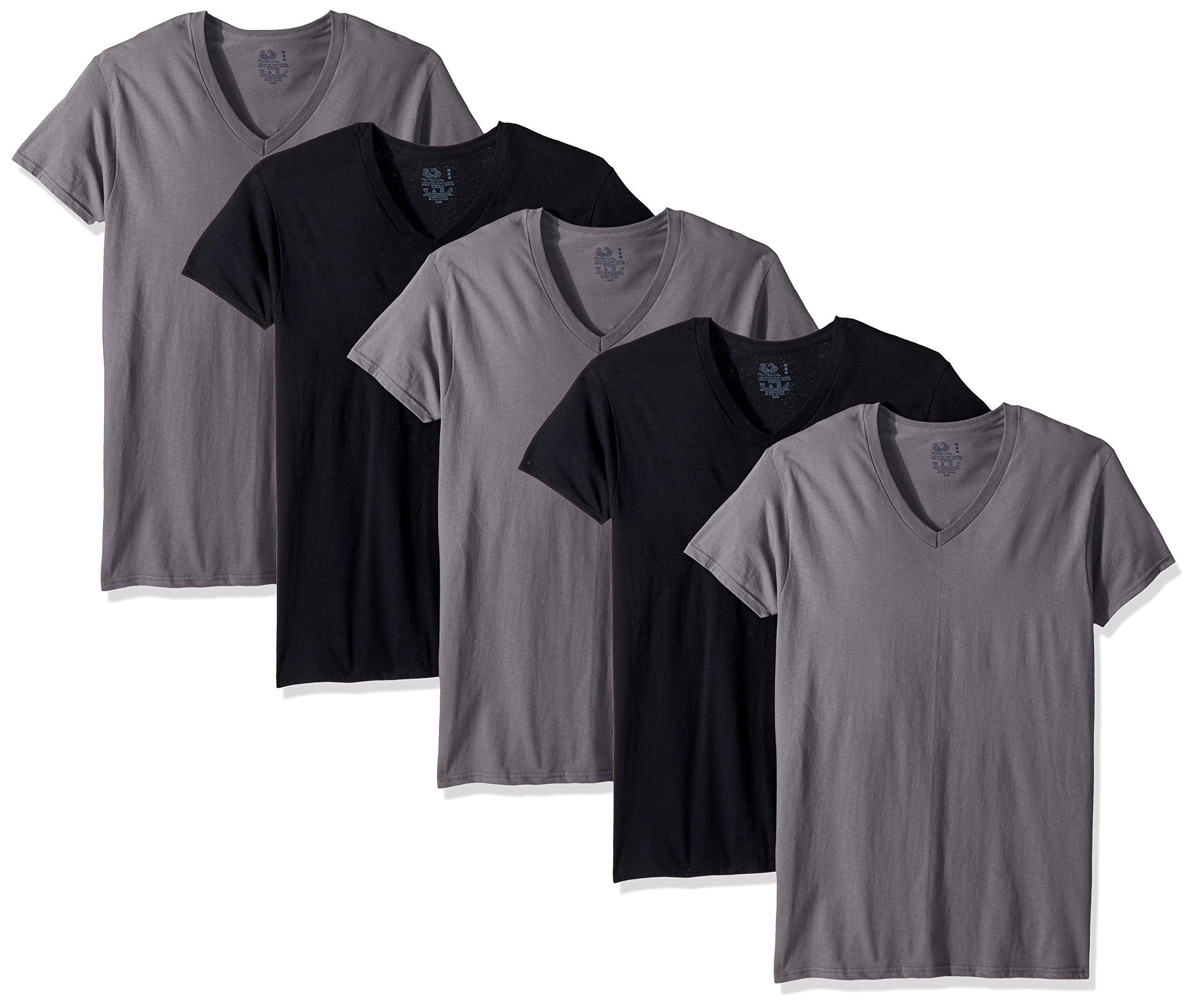 Fruit of the Loom Men's V-Neck T-Shirt Multipack, Black/Grey (5 Pack), Large by Fruit of the Loom (Image #1)