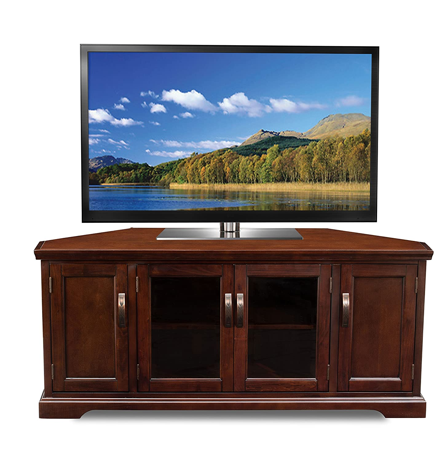 Amazon Com Leick 81386 Chocolate Cherry Corner Tv Stand 60