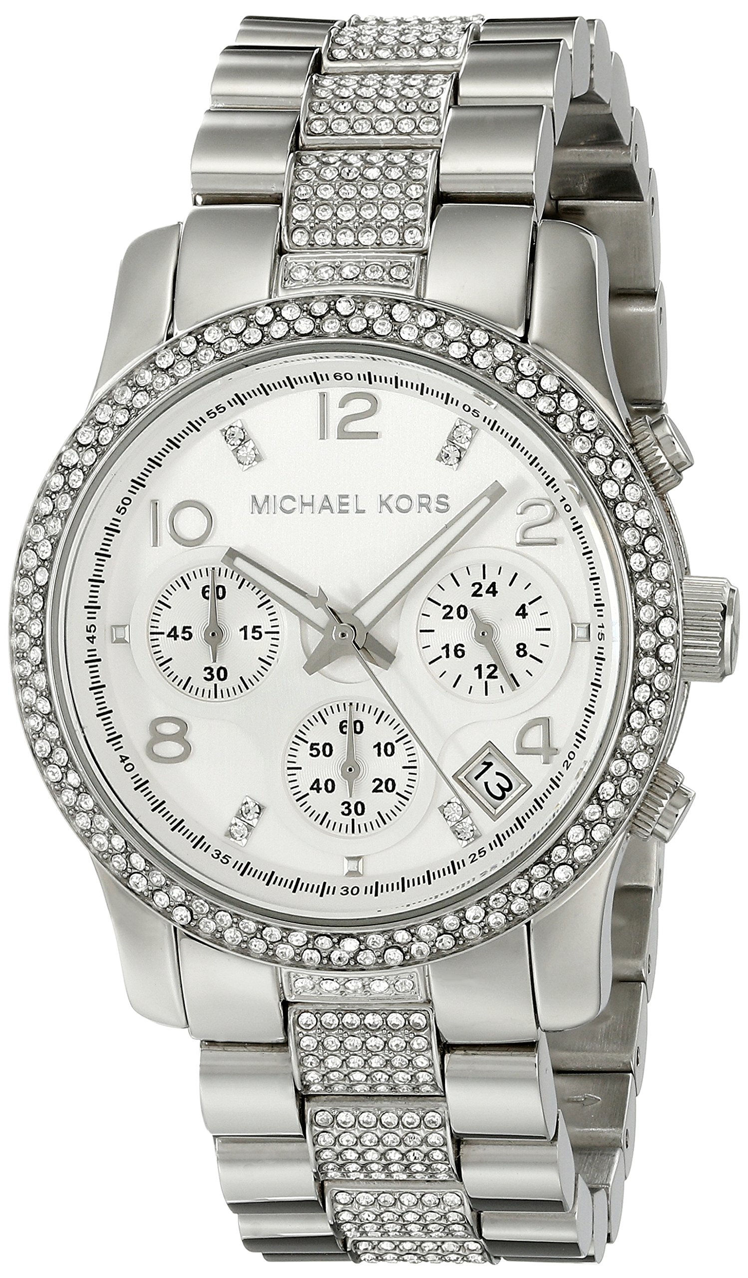 Michael Kors Runway Analog Quartz Silver Stainless Crystal Glitz Chronograph Women's Watch MK5825