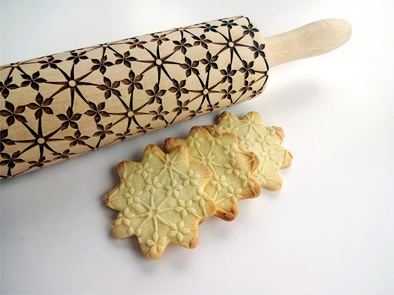 Rolling pin FLORAL NET. Wooden embossing rolling pin with Oriental flowers. Embossed cookies. Pottery. Birthday gift. Gift for mother