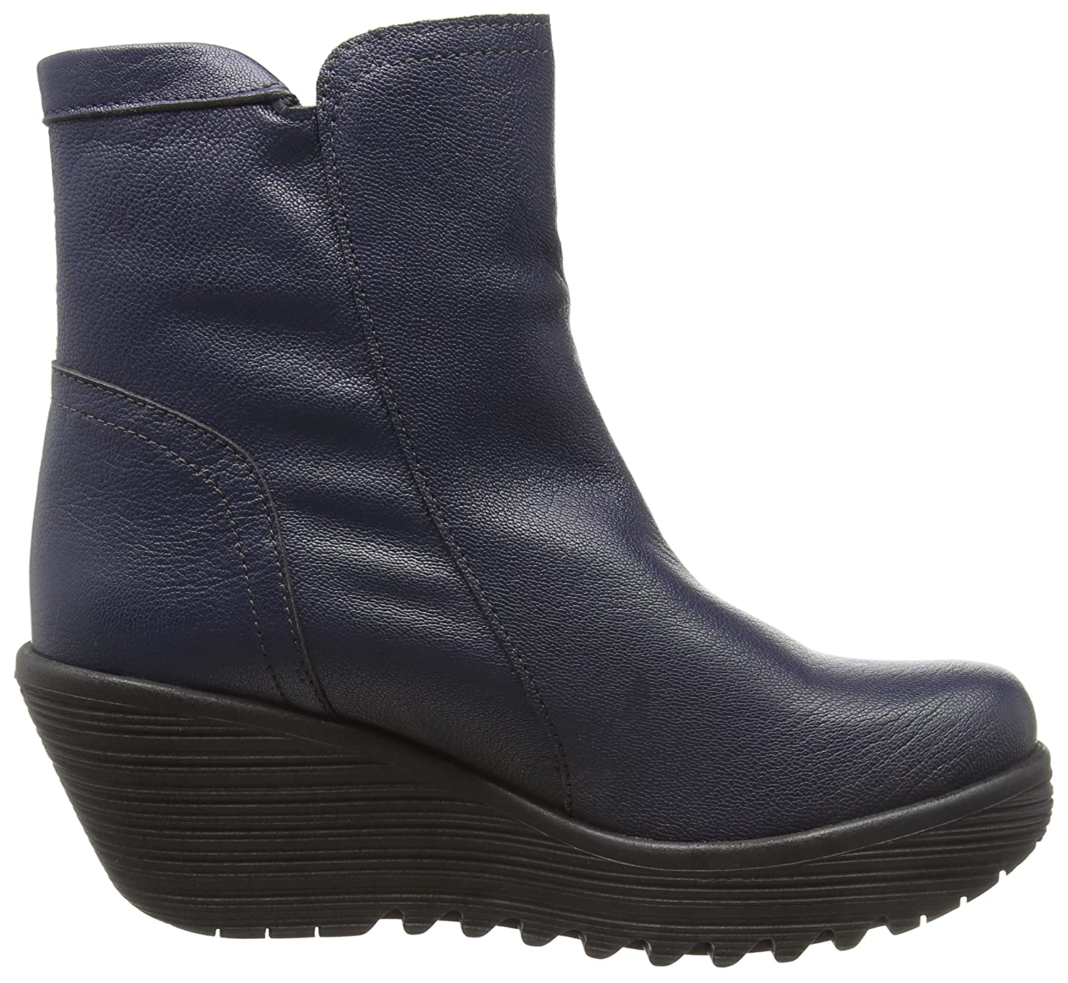 6806c8da98518 Amazon.com | FLY London Women's Yolk Mousse Leather Zip Wedge Boot Black |  Ankle & Bootie