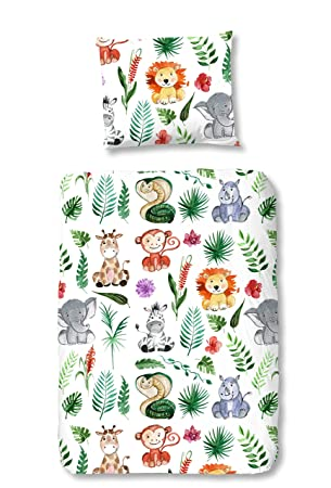 Aminata Kids Kinder Bettwäsche 100 X 135 Cm Zoo Tier E Jungle Afrika Safari Waldtier E Dschungel Baby Bettwäsche 100 Baumwolle Renforce Bunte