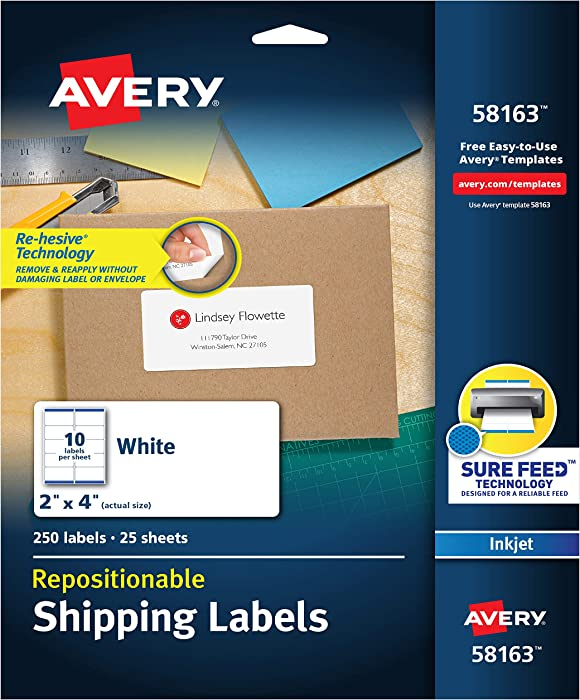 Avery Repositionable Shipping Labels for Inkjet Printers 2 x 4, Box of 250 (58163), White