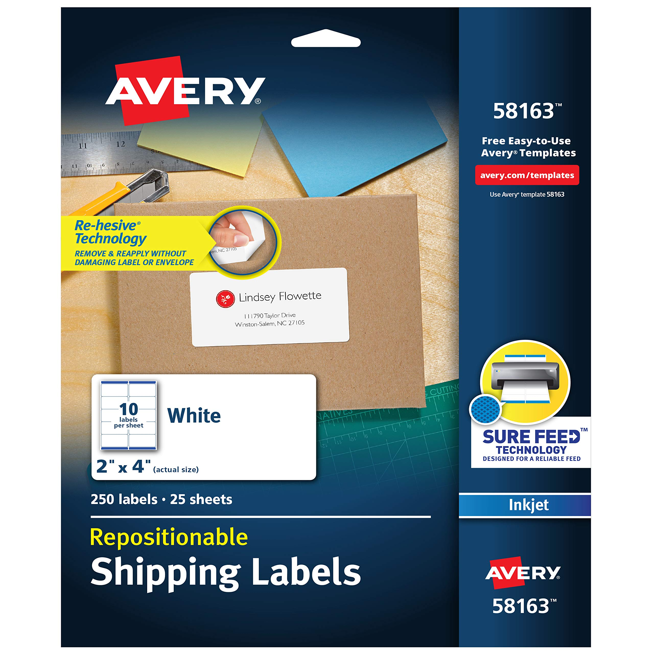 Avery Repositionable Shipping Labels for Inkjet Printers 2 x 4, Box of 250 (58163), White by Avery