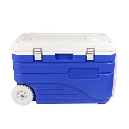 HnjPama refrigerador de 48 Cuartos con Barra y Ruedas, Aislante para Enfriador de Peces y