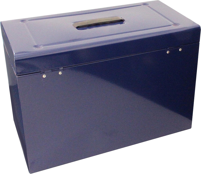 Caja archivadora de metal, tamaño folio, color azul -: Amazon.es: Oficina y papelería