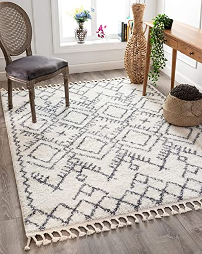 Well Woven Chessa Grey Moroccan Shag Diamond Trellis Pattern Area Rug 8×10 7 10 x 9 10