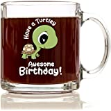 Turtley Awesome Birthday Premium 12 oz Glass Coffee Mug - Best Friend Gifts for Women, Men, for Kids, Girls, Boys, Box, Bag, Birthday, Basket, Adults, Turtles, Ideas, Teens, Sister, Brother, Turtle