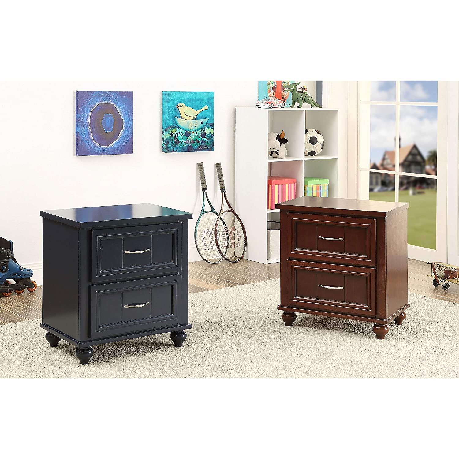 ioHOMES Felix Transitional Two Spacious Drawers Nightstand with Metal Glides Navy Blue