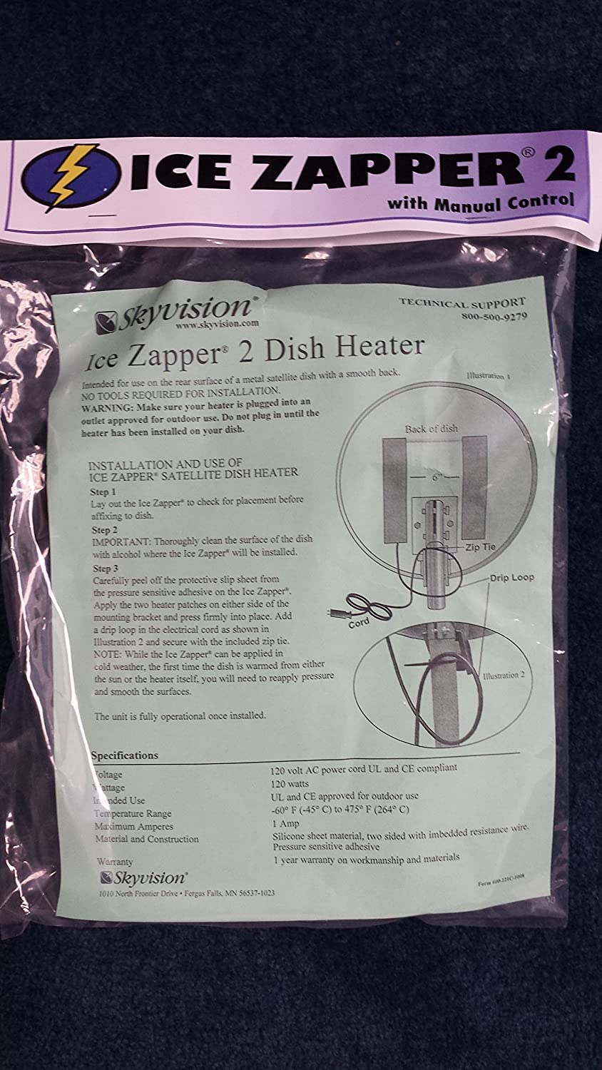 Ice Zapper 2 Satellite Dish Heater Kit w/ Manual Control for 46cm to 1.2 Meter Dish Antennas