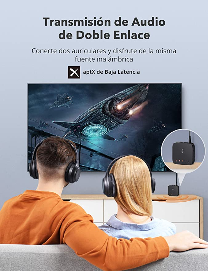 TaoTronics Adaptador Bluetooth 5.0 Transmisor Receptor 2 in 1 Baja Latencia Audio Inalámbrico 3.5mm, AUX SPDIF Salida/Entrada, Doble Conexión, 24 ...