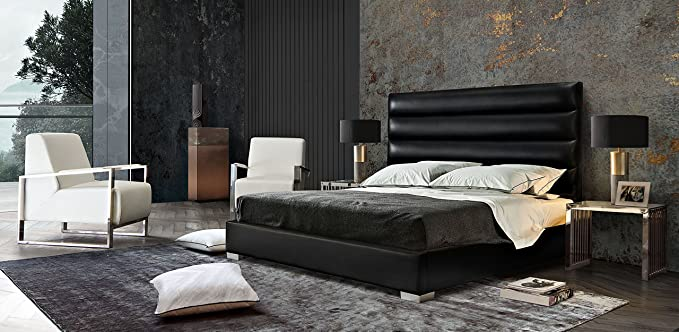 Amazon.com: Diamond Furniture BARDOTCKBEDEG Bardot Channel Tufted Cal King Bed in Elephant Grey Leatherette: Kitchen & Dining