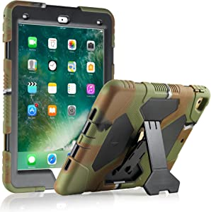 New iPad 9.7 2018/2017 Case, KIDSPR Lightweight Shockproof Rugged Cover with Stand Protective Full Body Rugged for Kids for New iPad 9.7 inch 2018/2017 (6th Gen, 5th Gen) (Army/Black)