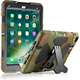 KIDSPR iPad 9.7 Case 2017 2018 - [Kids-proof] [Shock proof] [Scratch proof] [Drop Resistance] [Impact Resistant] Super Protection Cover Case with Stand for iPad 9.7 Tablet (Camo/Black)