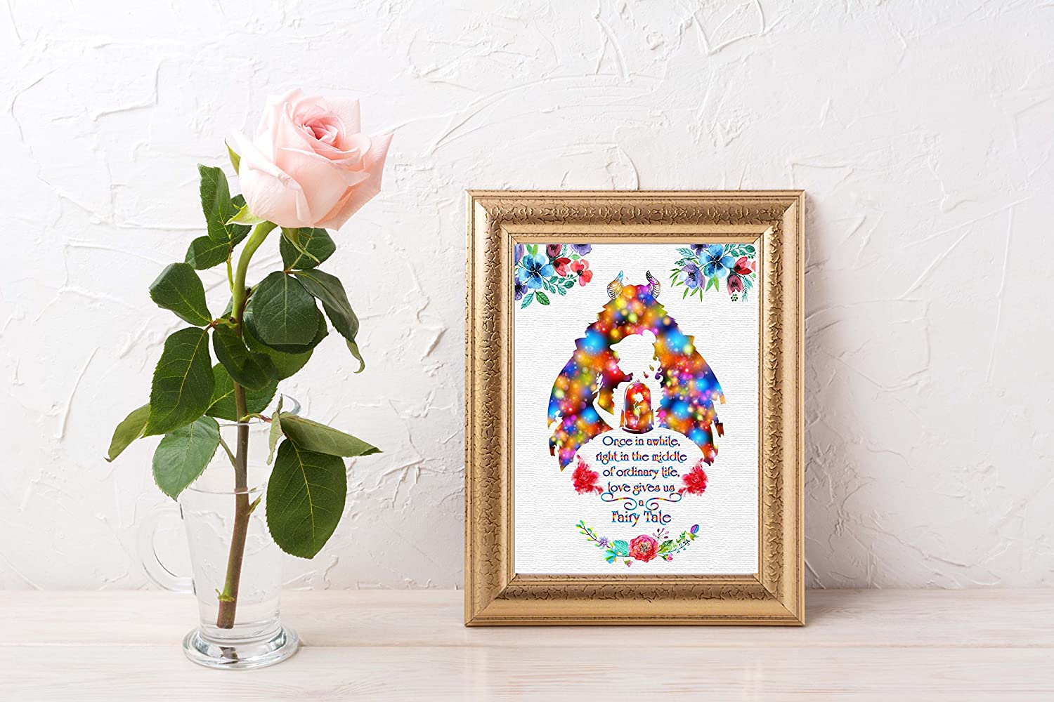 11X14 Uhomate Princess Belle Beauty and The Beast Beauty Beast Home Canvas Prints Wall Art Anniversary Gifts Baby Gift Inspirational Quotes Wall Decor Living Room Bedroom Bathroom Artwork C018