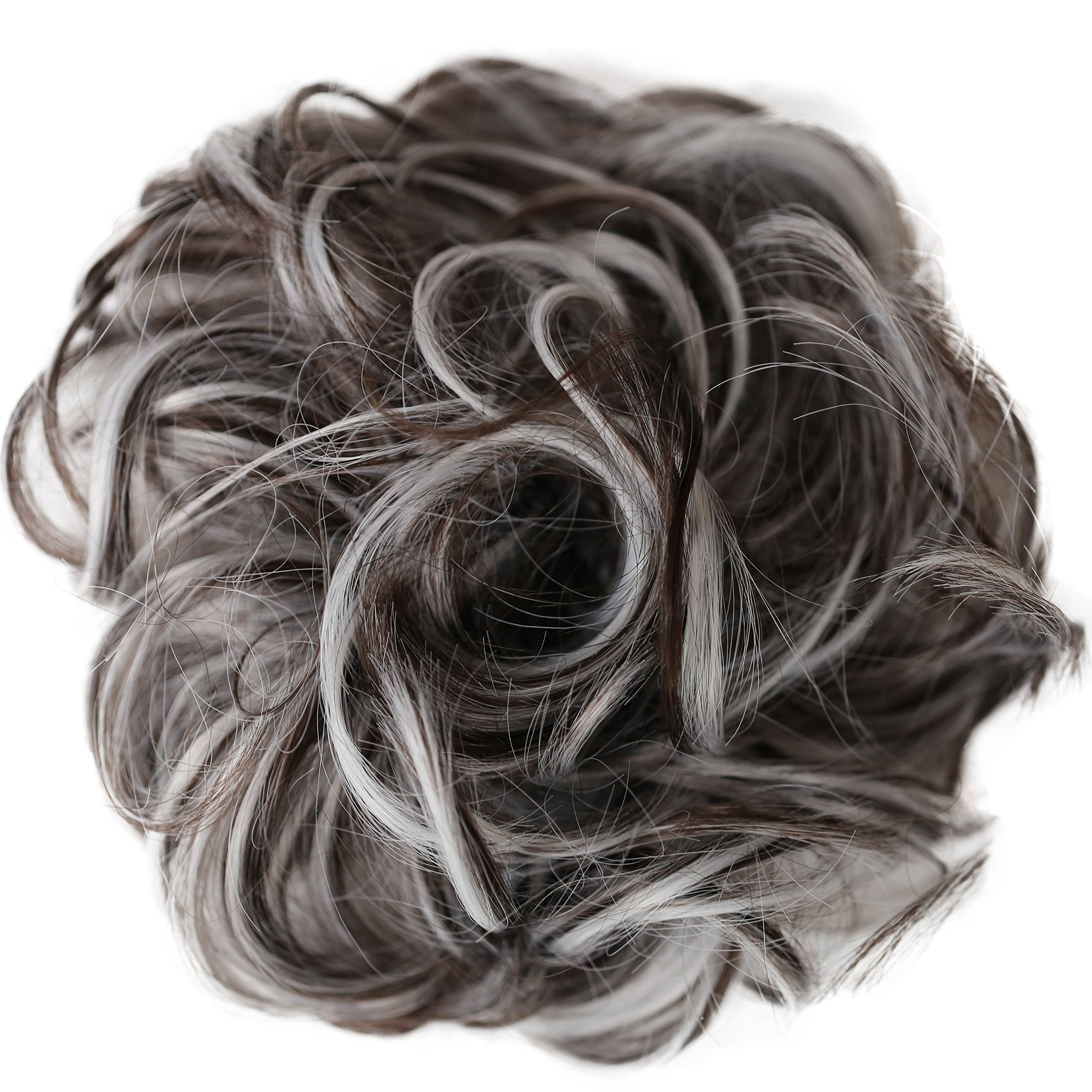 PRETTYSHOP Hairpiece Hair Rubber Scrunchie Scrunchy Updos VOLUMINOUS Curly Messy Bun brown gray mix # 10H1001B G25E