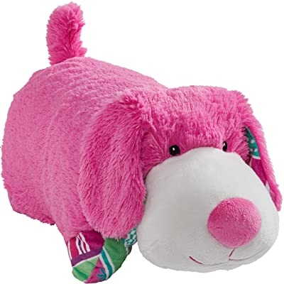 "Pillow Pets Colorful Pink Puppy - 18"" Stuffed Animal Plush Toy: Toys & Games"