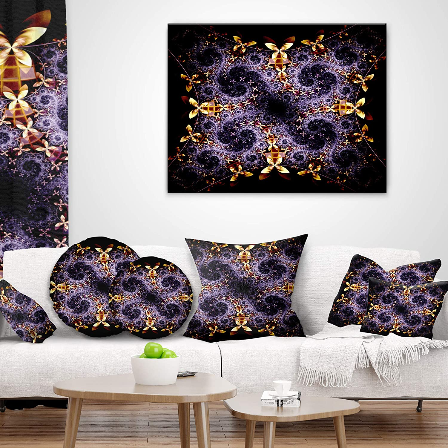 18 x 18 Sofa Throw Pillow Insert Printed Designart CU16458-18-18 Yellow and Violet Fractal Flower Abstract Cushion Cover for Living Room