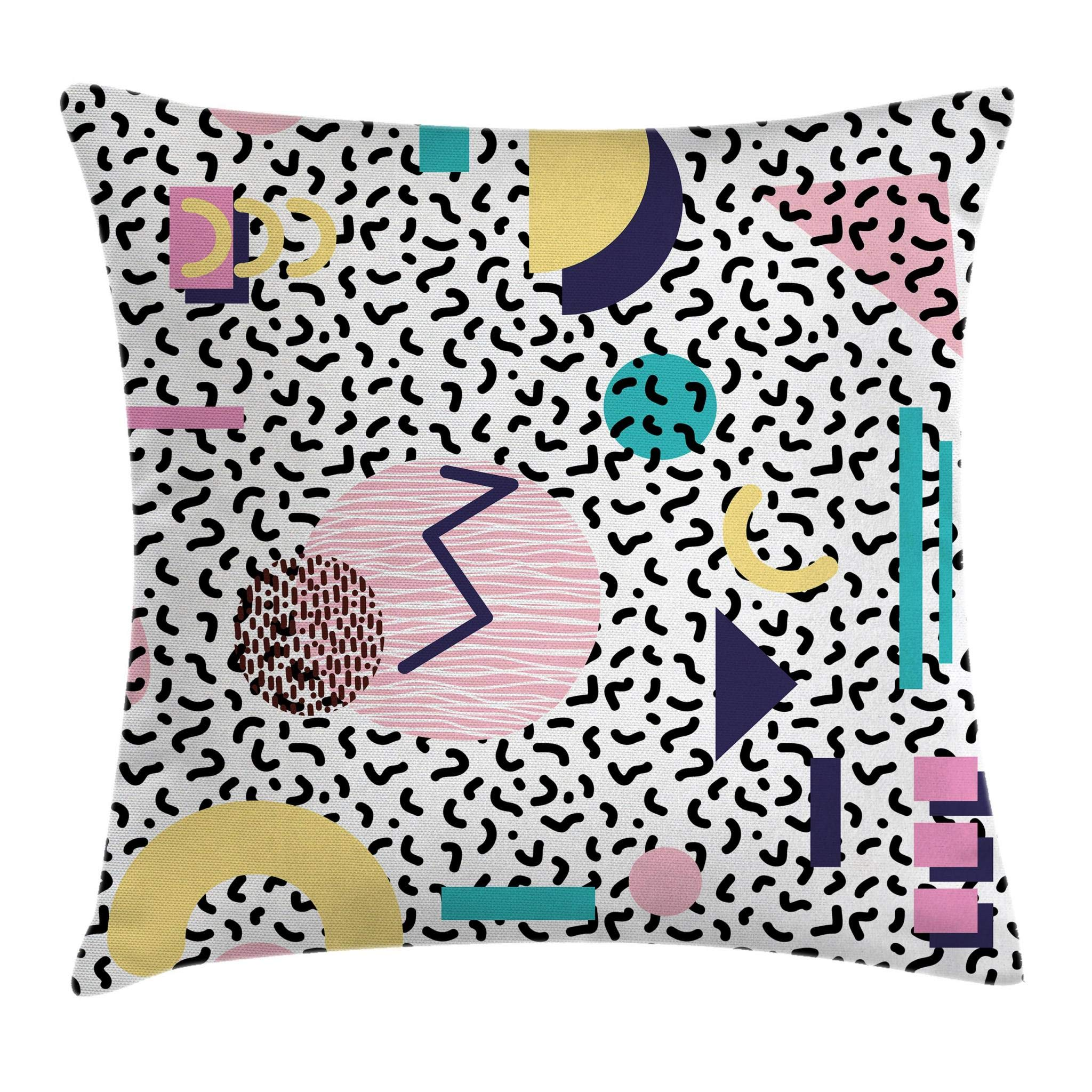 Ambesonne 90s Throw Pillow Cushion Cover, Geometric Pattern in Retro Style with Round Half Moon Triangle Shapes Artwork, Decorative Square Accent Pillow Case, 18 X 18 Inches, Navy Yellow Pink