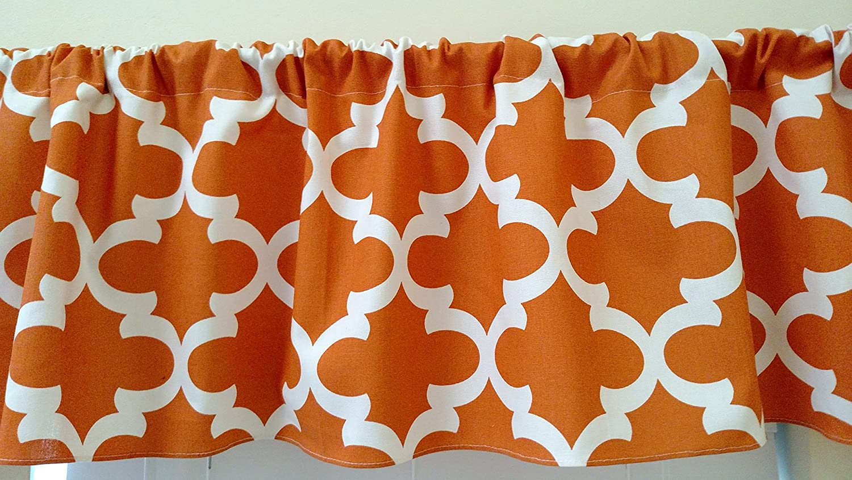 Amazon com apache orange quatrefoil valance curtain morocan trellis topper window treatment unisex burnt orange and white handmade