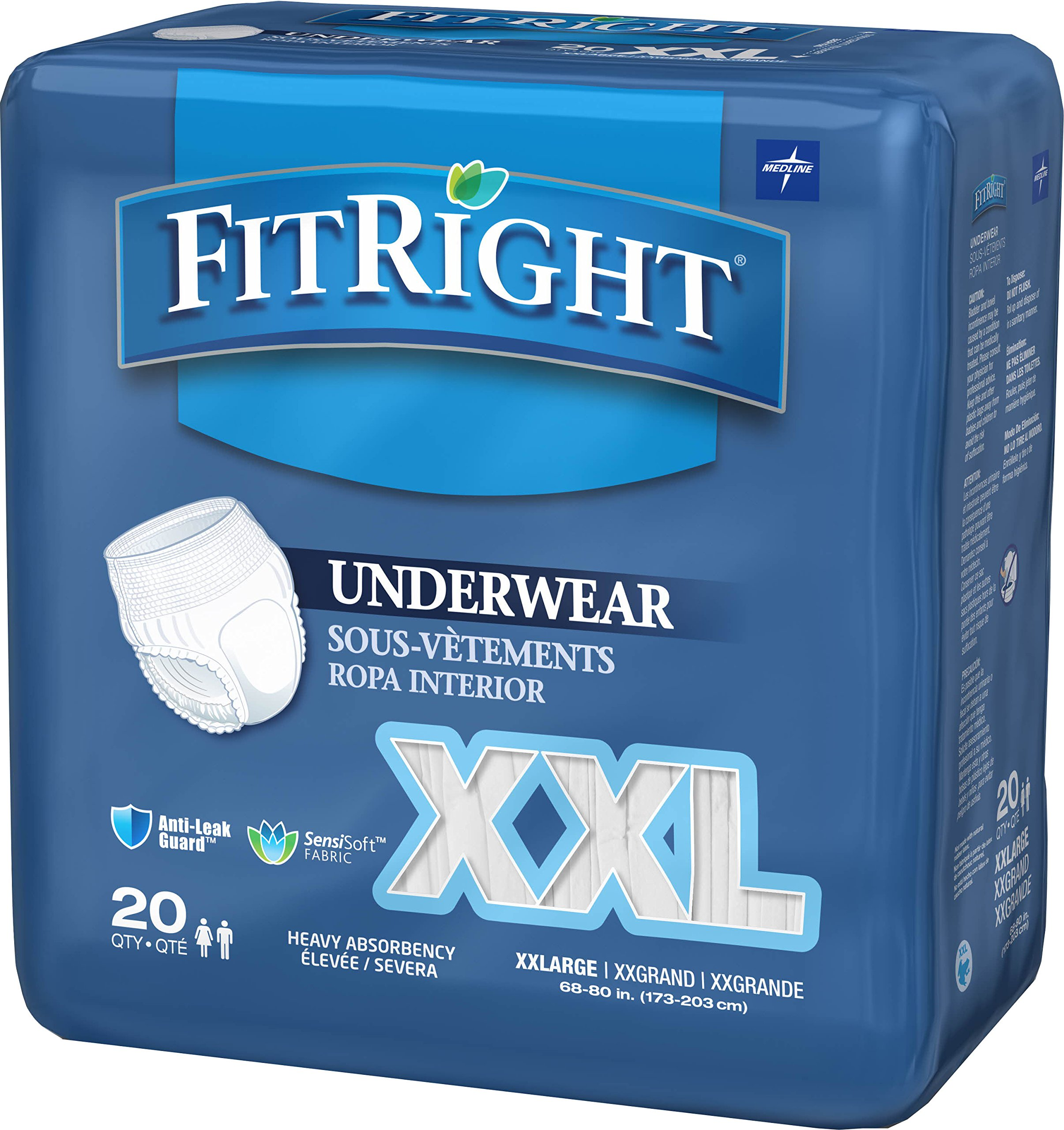 FitRight 2XL Adult Protective Underwear, Heavy Absorbency with Anti-Leak Guards, 68''-80'' (80 Count)