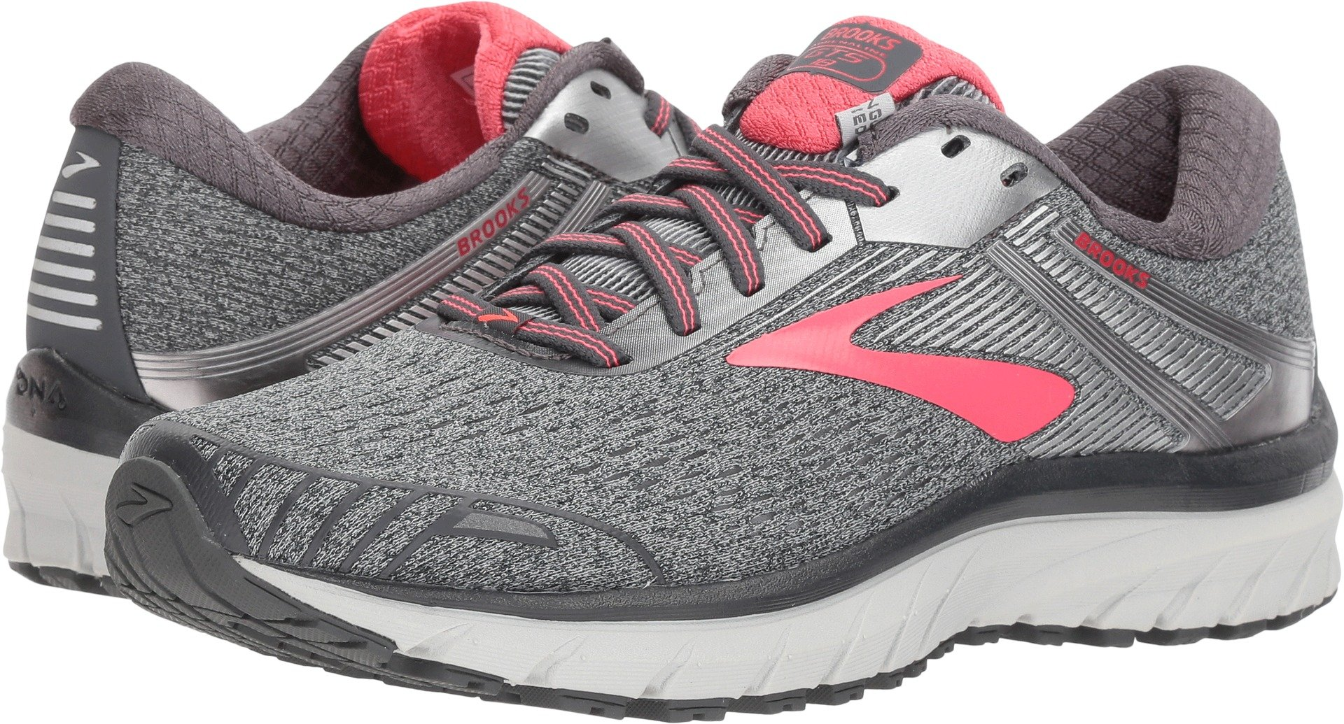 Brooks Women's Adrenaline GTS 18 Ebony/Silver/Pink 5 B US