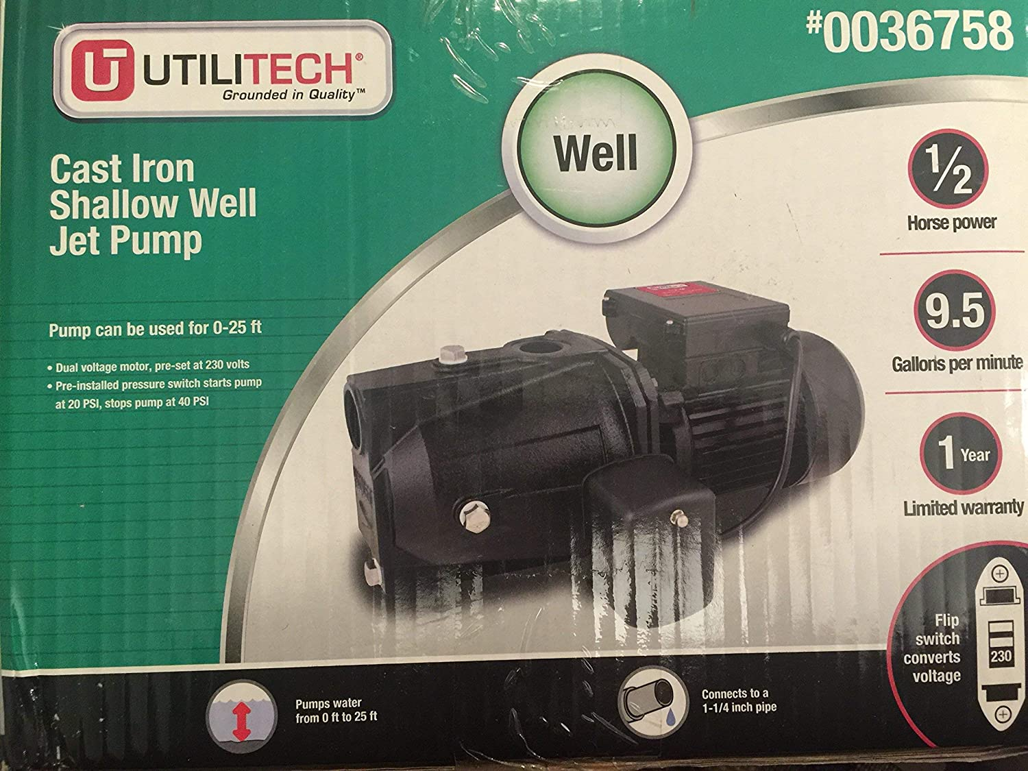 Utilitech cast iron shallow jet pump
