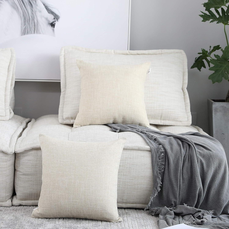 """Kevin Textile Christmas Decor Lined Linen Pillow Cover Euro Throw Pillowcase Cushion Cover Pillow Sham for Sofa, Hidden Zipper, 18""""x18""""(2 Pieces, Natural Linen)"""
