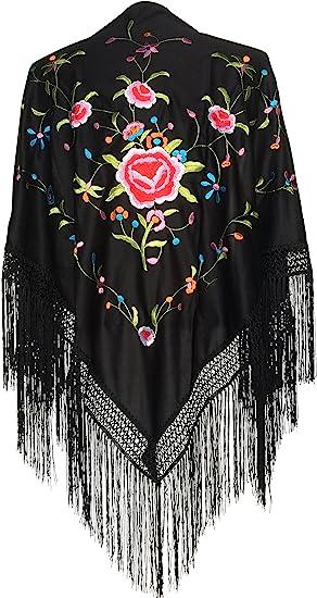 La Señorita Mantones bordados Flamenco Manton de Manila negro flores de colores
