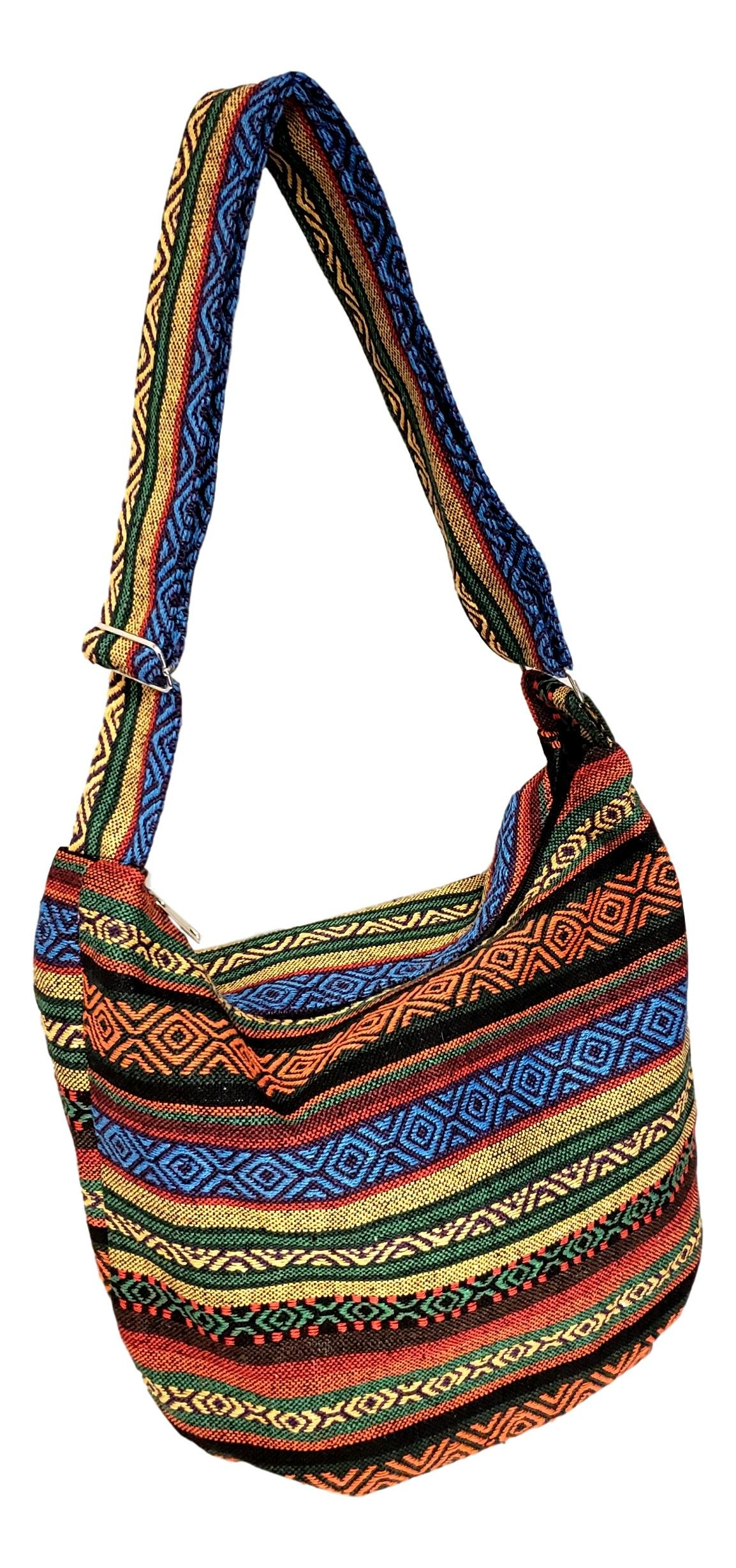 Large Hobo Tapestry Stripes Crossbody Sling Shoulder Bag (Gold Blue Coral Stripe)