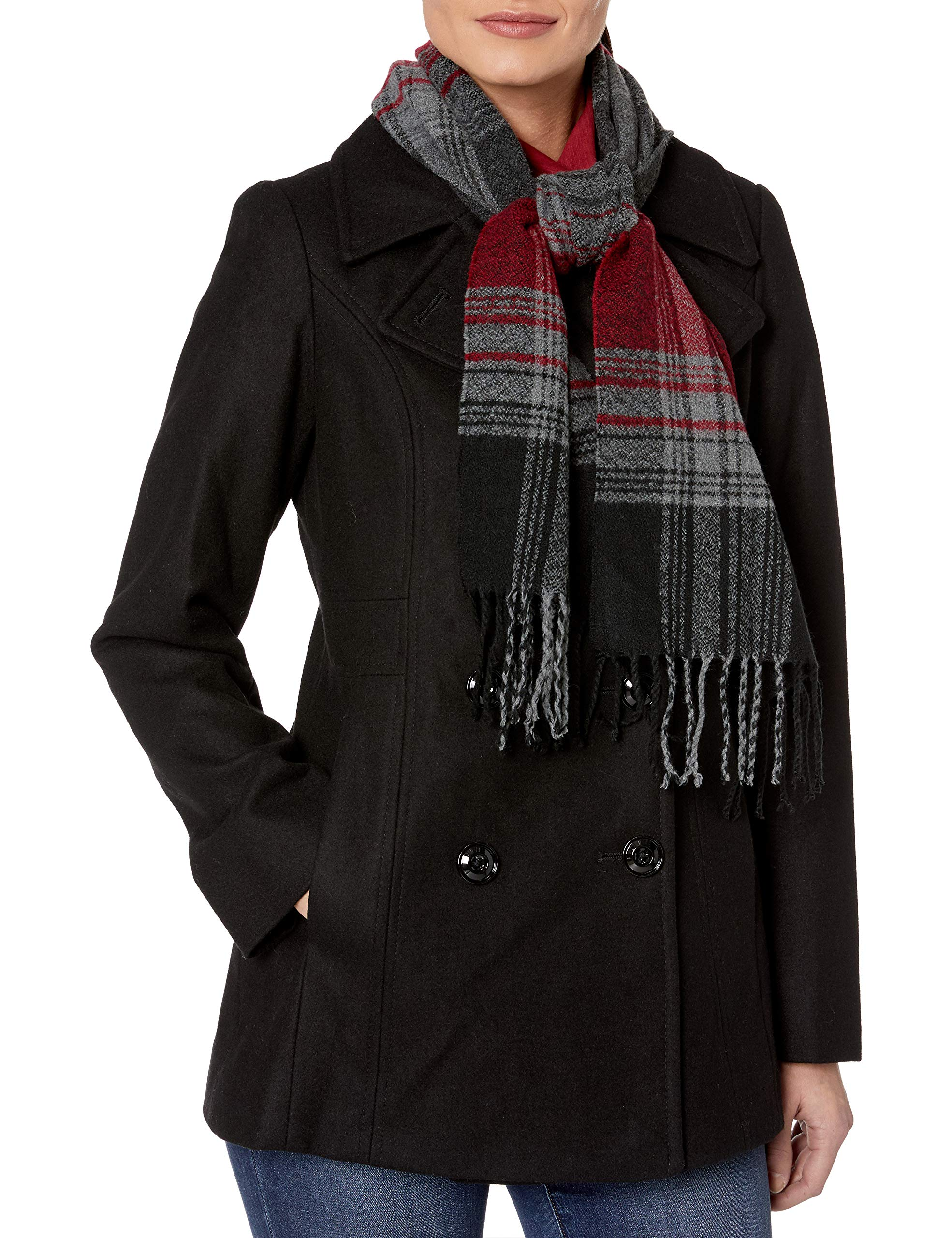LONDON FOG Women's Plus-Size Double Breasted Peacoat with Scarf