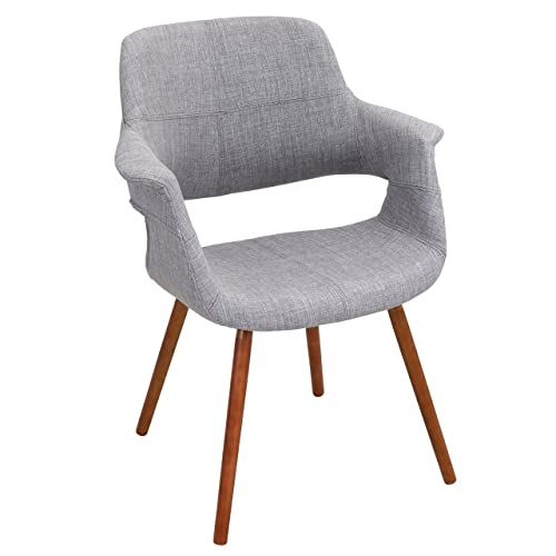 WOYBR Bent Wood, Woven Fabric Vintage Flair Chair, 21Lx25.75Wx33H, Light Grey