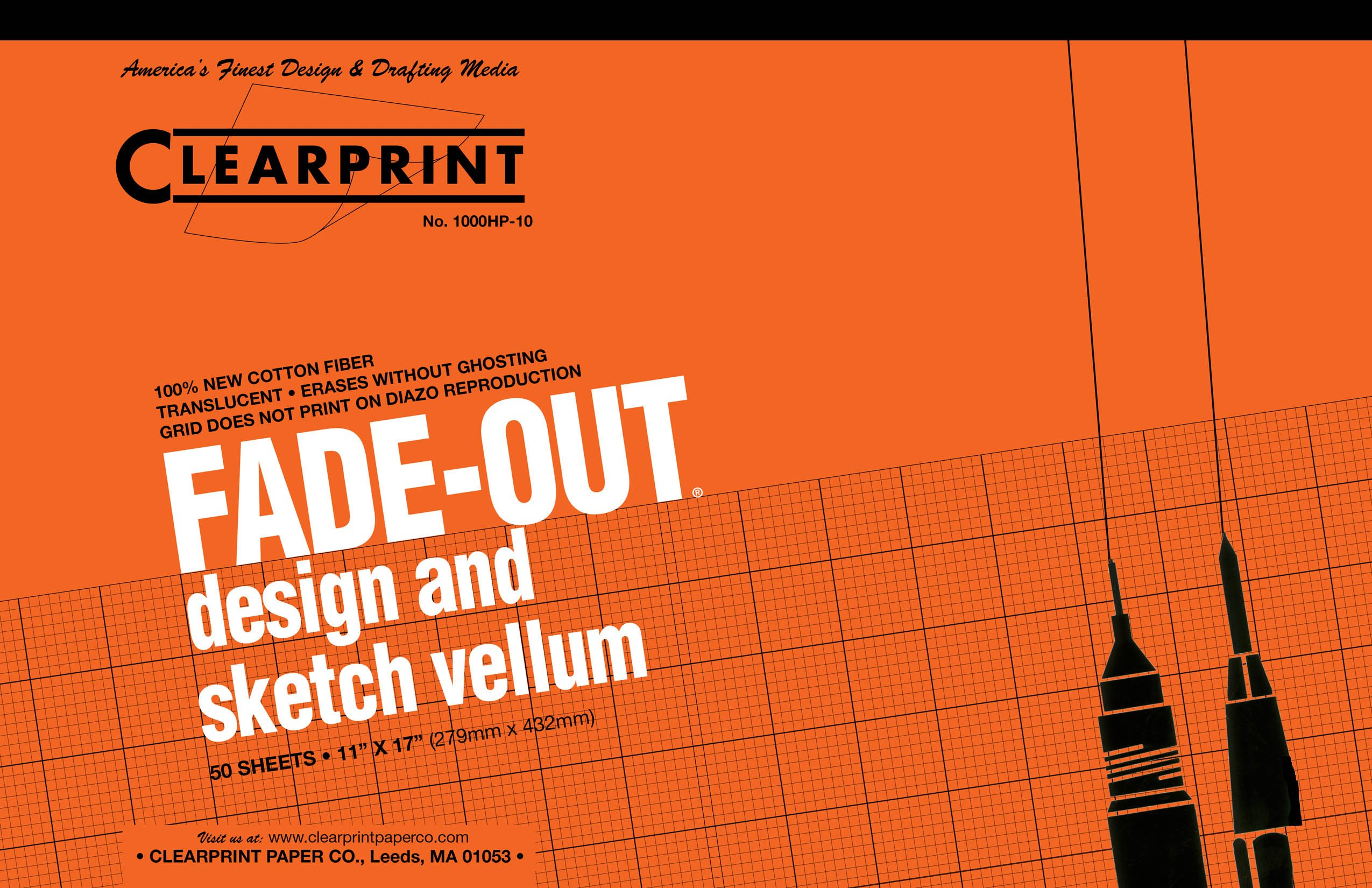 Clearprint 1000H Design Vellum Pad with Printed Fade-Out 10x10 Grid, 16 lb., 100% Cotton, 11 x 17 Inches, 50 Sheets, Translucent White (10003416)