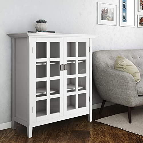 Simpli Home Artisan SOLID WOOD 38 inch Wide Contemporary Medium Storage Cabinet in White, with 2 tempered glass doors , 4 adjustable shelves