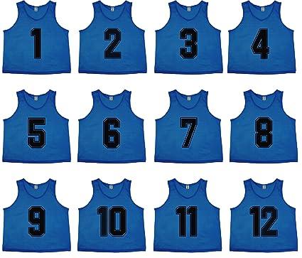 Oso Athletics - Juego de 12 playeras de malla de poliéster con números de 1  a 0ad7dea0d7e2f