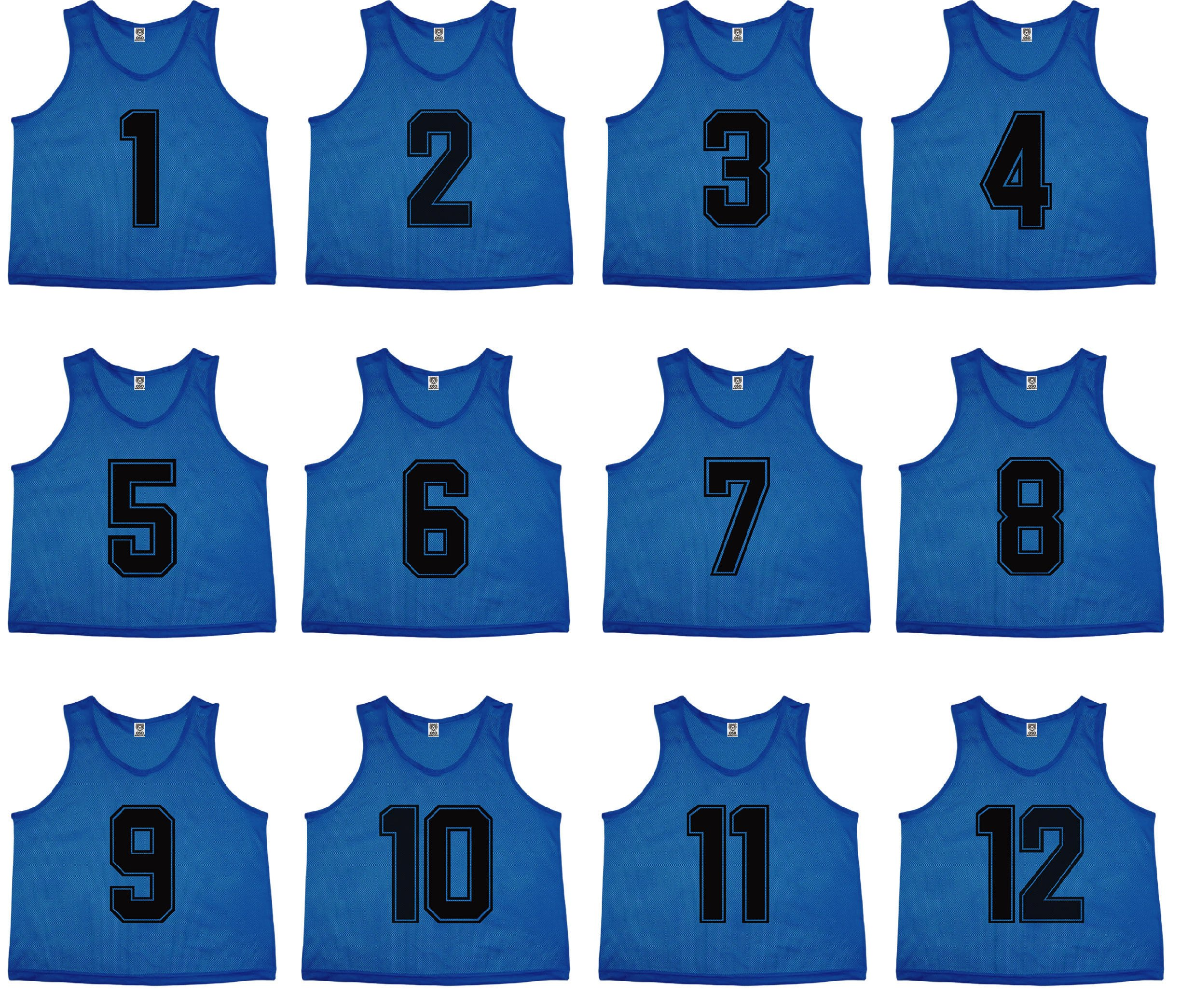 Oso Athletics Sets of 12 (1-12, 13-24) Premium Polyester Mesh Numbered Jerseys, Scrimmage Vests, Pinnies for Children, Youth and Adult Sports Soccer, Basketball (Blue (#1-12), Youth - Small)