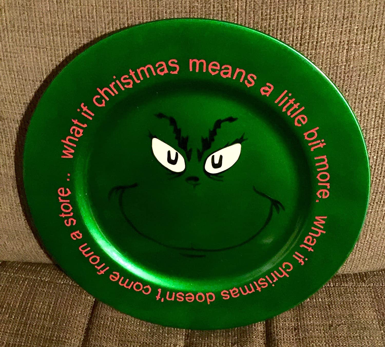 Grinch Charger Plate, Christmas Charger Plate, Christmas Decor