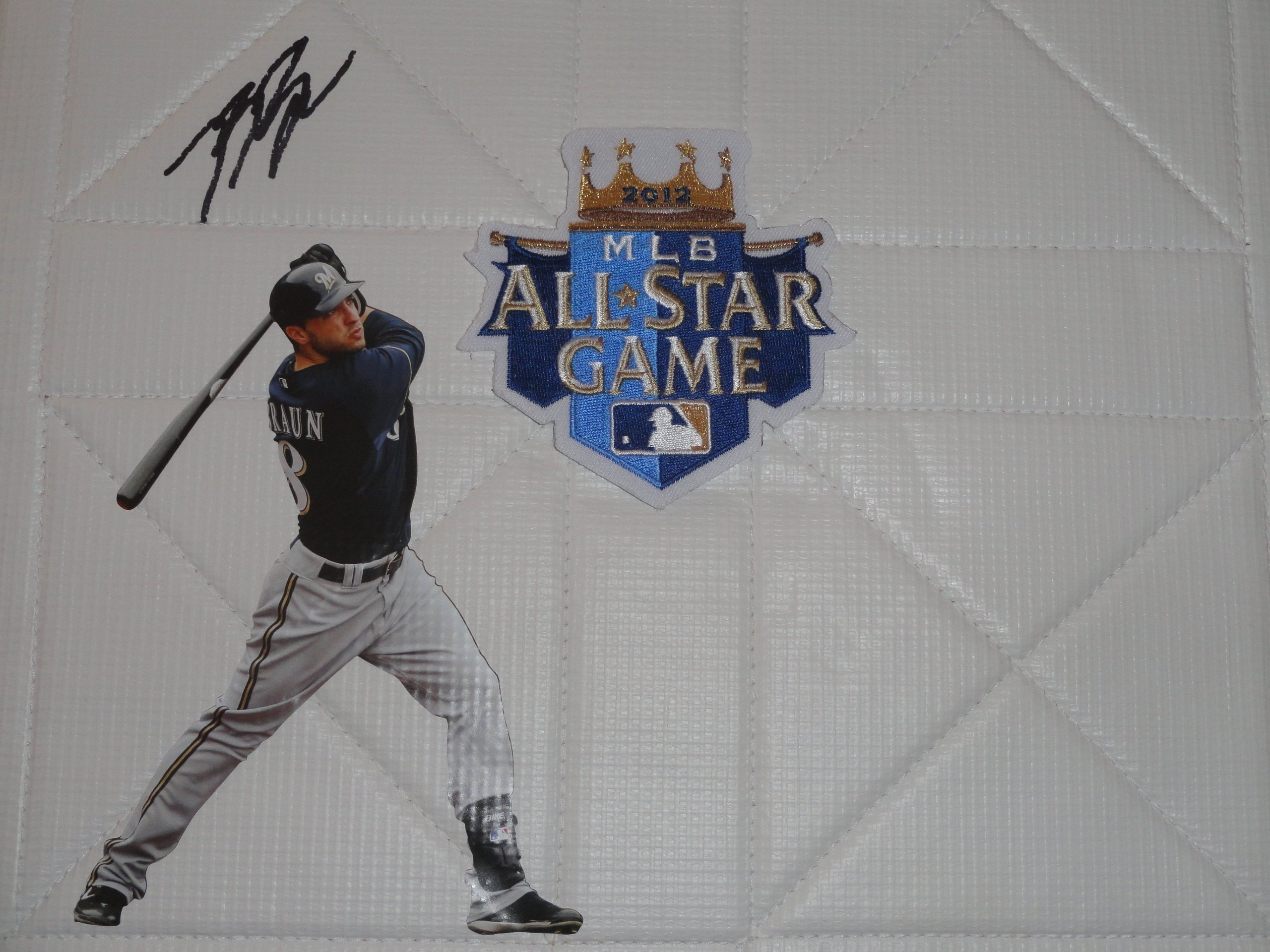 Milwaukee Brewers Ryan Braun Autographed Hand Signed 2012 All Star Game Baseball Photo Full Size Base with Proof Photo of Signing and COA