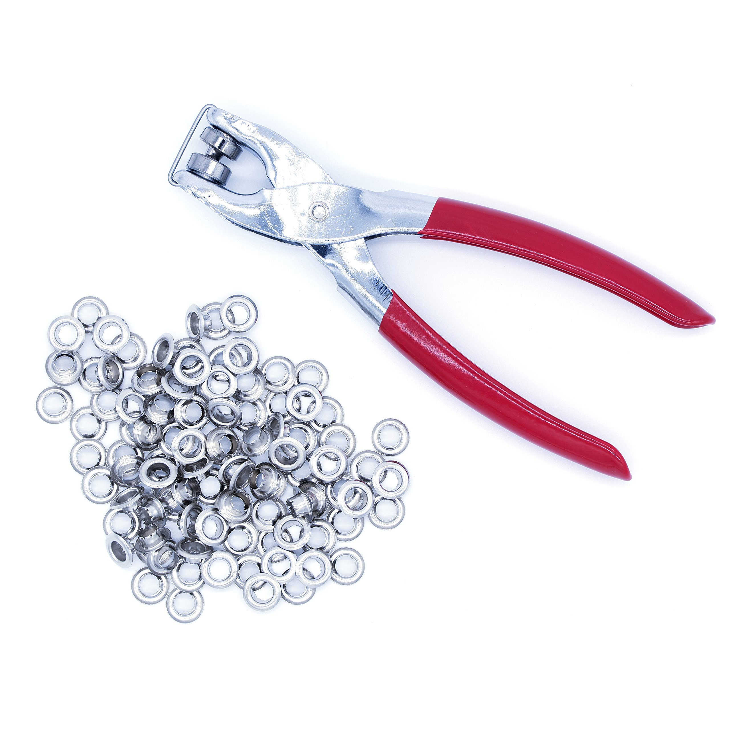 """Ram-Pro 1/4"""" Grommet Eyelet Setter Plier, Hole Punch Tool Kit with 100 Silver Metal Eyelets Grommets"""