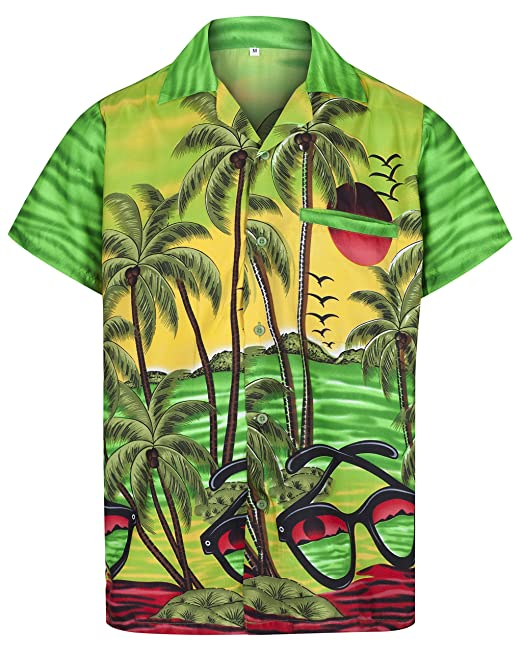 1dc3bdbac Red Star Mens Hawaiian Shirt Short Sleeve STAG Beach Holiday Sunglasses  Style Fancy Dress Hawaii: Amazon.co.uk: Clothing