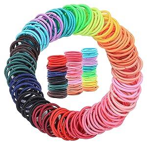 200PCS Baby Toddler Hair Ties, Multicolor Elastic Hair Ties for Thick Hair, No Crease Hair Elastics Small Ponytail Holders Hair Ties for Kids Girls
