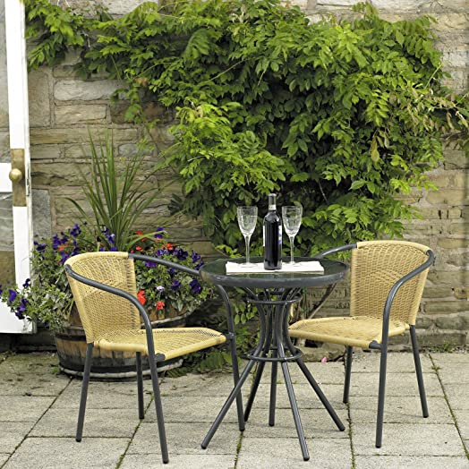 Paris Aluminium Woven Bistro Cafe Bistro Outdoor Garden Furniture Table