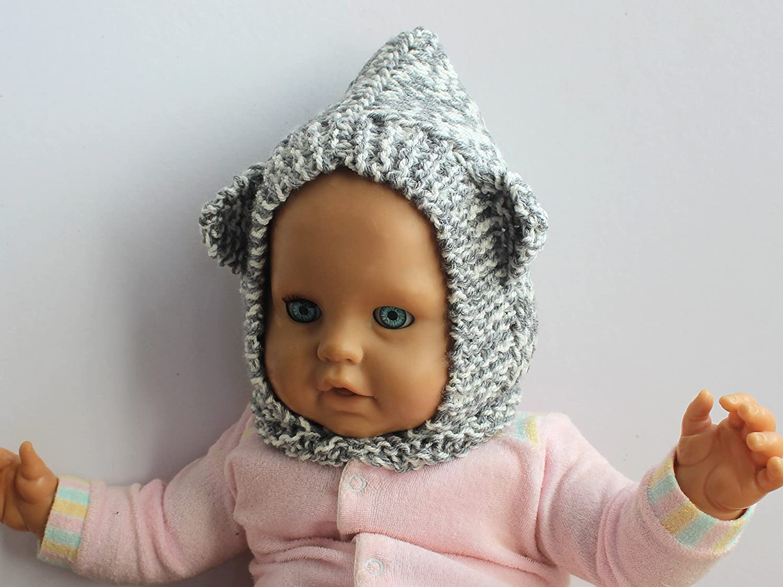 BABY BEAR BALACLAVA grey & white