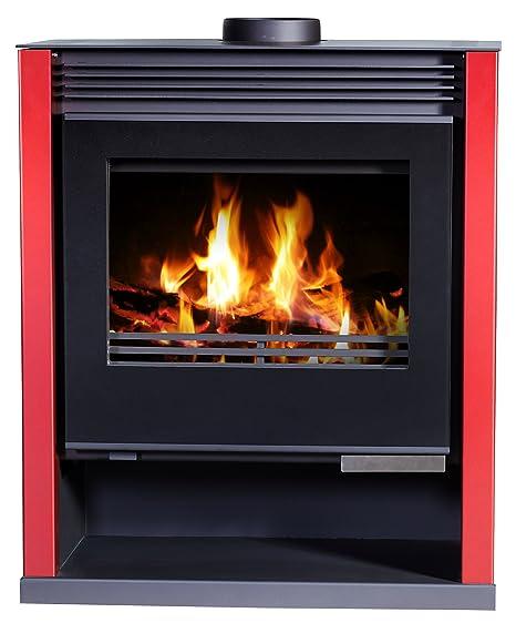 Estufa de leña, color rojo, quemador de leña, estufa de leña, chimenea