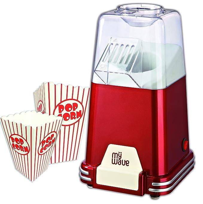 MyWave MWFC-PAL Palomitero Retro Incluye Vasos para Palomitas 1100 W, Rojo