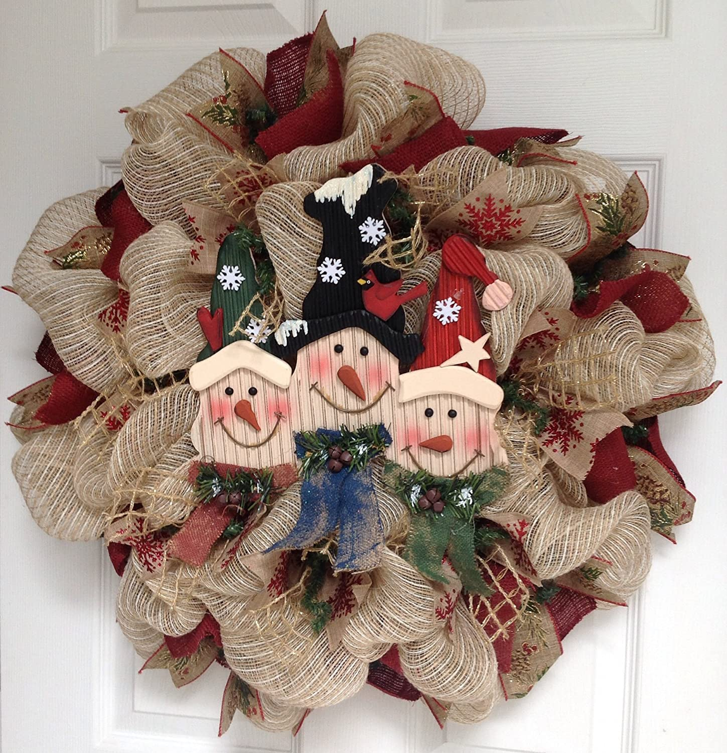 Rustic Country Snowman Mesh Wreaths